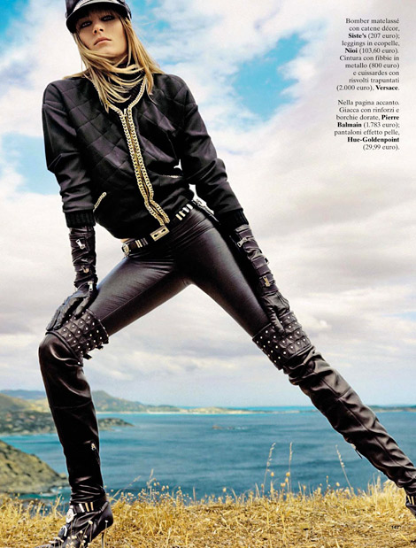Boot/Glove Fashion: Kori Richardson in Versace Thigh High Boots and Georges Morand Leather Elbow Length Gloves. Glamour Italia, 08.2013.