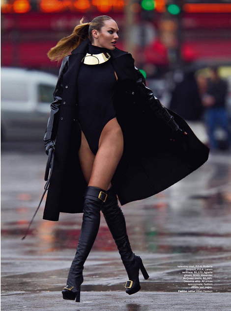 Boot Fashion: Candice Swanepoel in Alexander McQueen Over The Knee Boots. Vogue Australia, 06.2013.