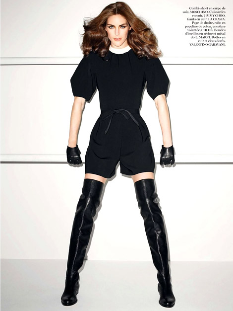 Boot/Glove Fashion: Hilary Rhoda in Jimmy Choo Thigh High Boots and La Crasia Leather Gloves. Vogue Paris, 06.2013.