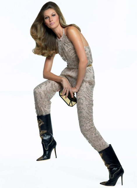 Boot Fashion: Gisele Bündchen in Versace Leather Boots. Vogue Italia, 06.2013.