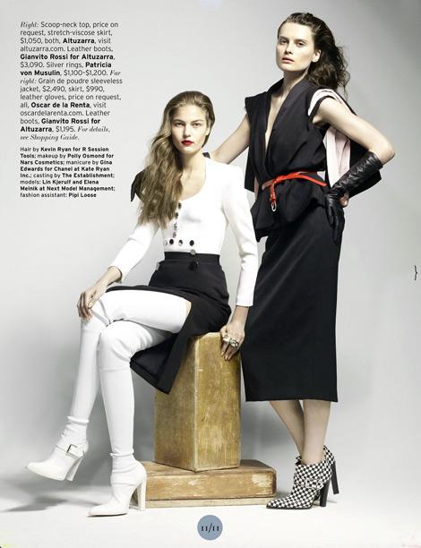 Boot/Glove Fashion: Lin Kjerulf in Gianvito Rossi Crotch High Boots & Elena Melnik in Oscar de la Renta Leather Elbow Length Gloves. Elle US, 07.2013.