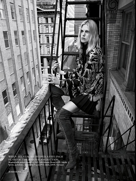 Boot Fashion: Iselin Steiro in Emilio Pucci Laced Thigh High Boots. Vogue UK, 08.2013.