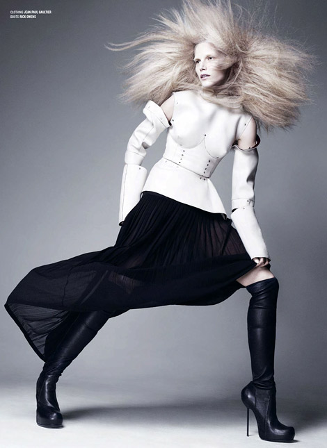 Boot Fashion: Suvi Koponen in Rick Owens Over The Knee Boots. V Magazine #84, Fall 2013.