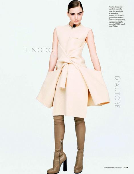 Boot Fashion: Kristine Froseth in Céline Thigh High Boots. Elle Italia, 09.2013.