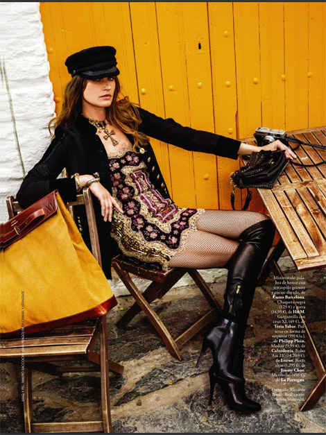 Boot Fashion: Eugenia Volodina in Jimmy Choo Over The Knee Boots. Elle Spain, 09.2013.