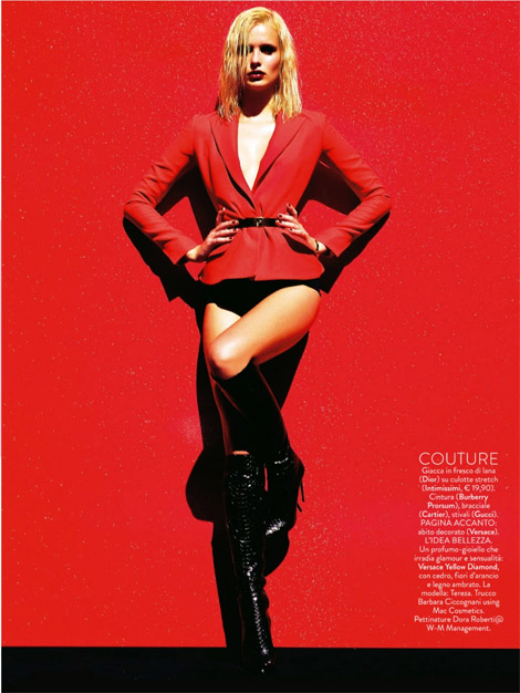 Boot Fashion: Tereza Bouchalova in Gucci Knee High Boots. Grazia Italia, 08.2013.