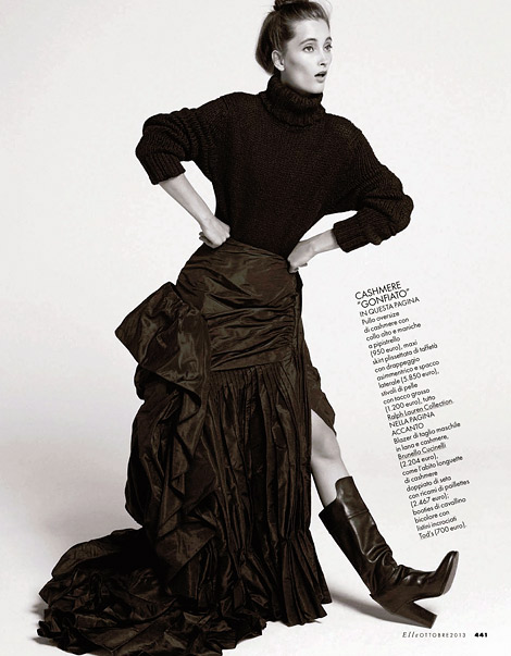 Boot Fashion: Iekeliene Stange in Ralph Lauren Knee High Boots. Elle Italia, 09.2013.