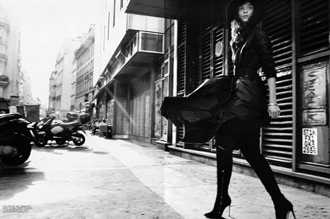 Boot Fashion: Mariacarla Boscono in Gianvito Rossi Over The Knee Boots. Self Service #39, Fall 2013.