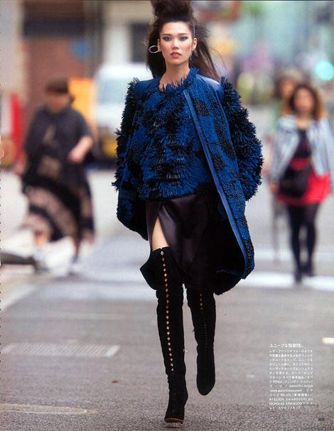 Boot Fashion: Tao Okamoto in Gianvito Rossi Thigh High Boots. Vogue Japan, 11.2013.