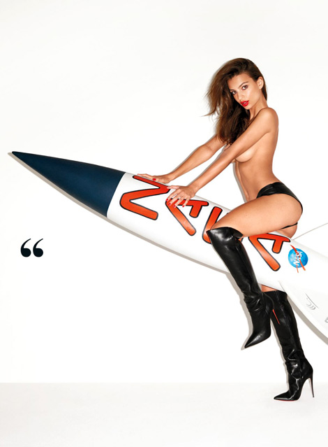 Celebrities in Boots: Emily Ratajkowski in Christian Louboutin Over The Knee Boots. GQ Magazine, 11.2013. NSFW.