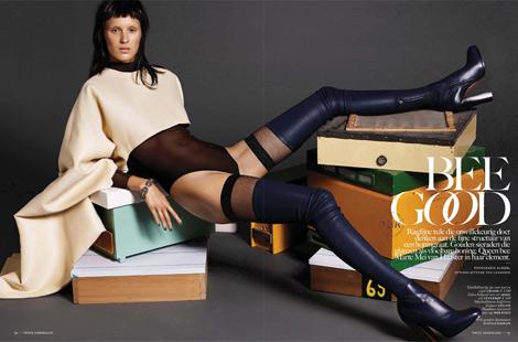 Boot Fashion: Marte Mei Van Haaster in Céline Thigh High Boots. Vogue Nethlands, 11.2013.