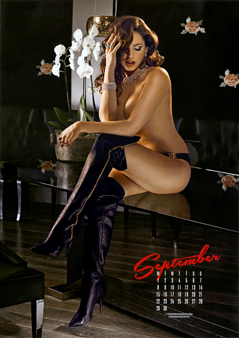 Celebrities in Boots: Gianvito Rossi Over The Knee Boots. Kelly Brook 2014 Calendar.