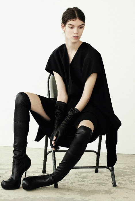 Boot Fashion: Meghan Collison in Rick Owens Over The Knee Boots and Leather Elbow Length Gloves. The Journal #33, Fall 2013.