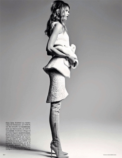Boot Fashion: Frida Gustavsson in Gianvito Rossi Thigh High Boots. Vogue Germany, 12.2013.