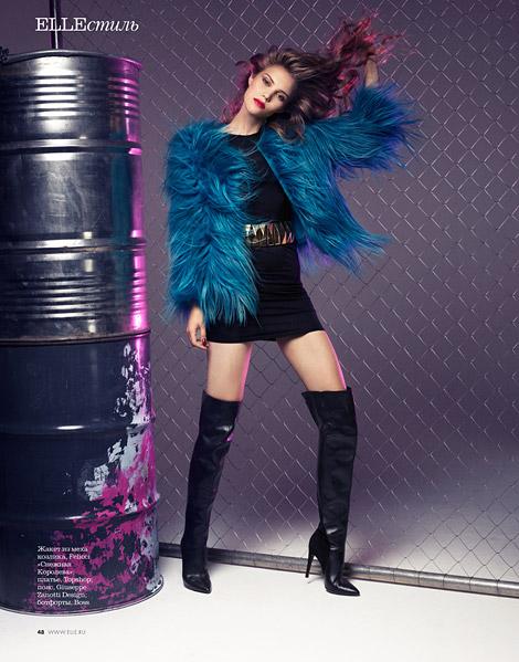 Boot Fashion: Liza Serpova in Giuseppe Zanotti Thigh High Boots. Elle Russia, 11.2013.