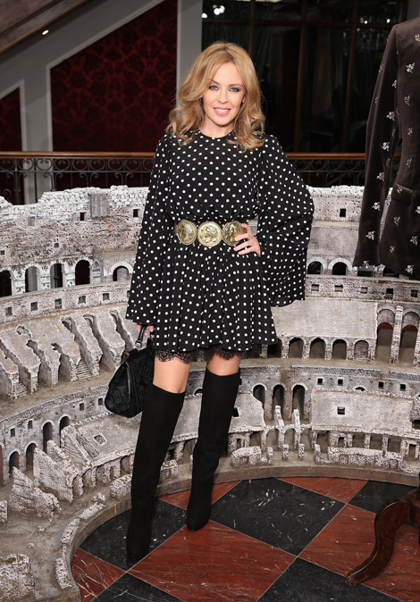 Celebrities in Boots: Kylie Minogue in Dolce & Gabbana Over The Knee Boots. London, UK. 01.05.2014.