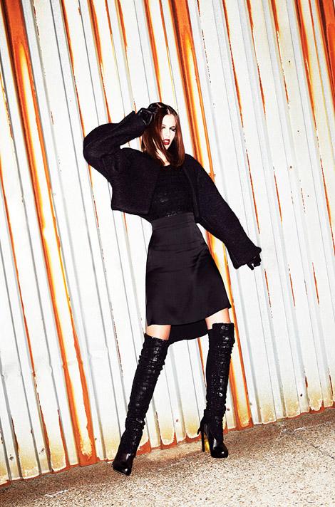 Boot Fashion: Aline Zanella in Sally Lapointe Thigh High Boots. Idol Magazine UK, 11.2013.