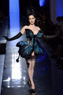 Celebrities in Gloves: Dita Von Teese in Jean Paul Gaultier Leather Opera Gloves. Jean Paul Gaultier Haute Couture Runway, Paris. 01.22.2014.