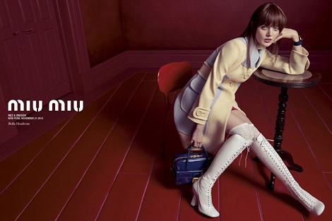 Boot Fashion: Bella Heathcote in Miu Miu Laced Knee High Boots. Miu Miu Spring/Summer 2014 Campaign.