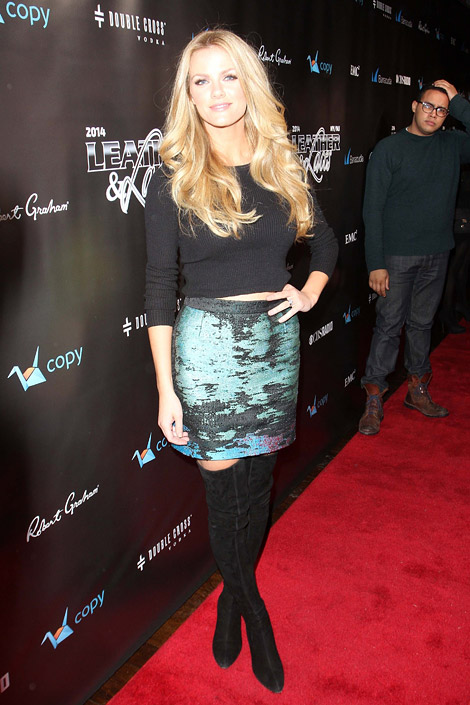 Celebrities in Boots: Brooklyn Decker in Thigh High Boots. Leather & Laces Super Bowl Party, 02.02.2014.