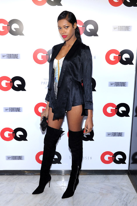 Celebrities in Boots: Jessica White in Gianvito Rossi Over The Knee Boots. NYC, 01.31.2014.