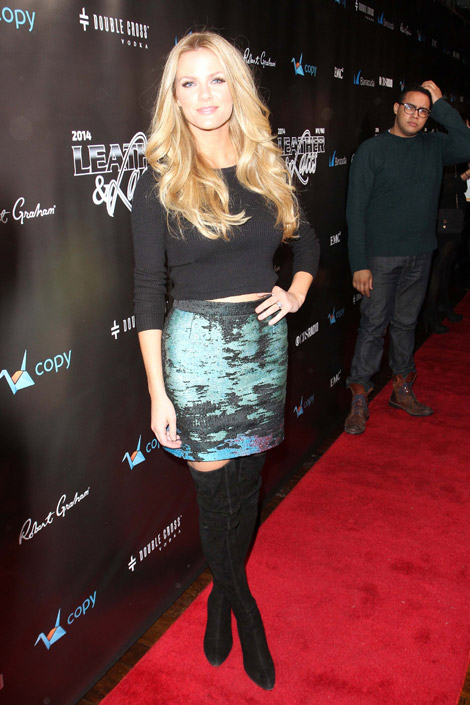 Celebrities in Boots: Brooklyn Decker in Stuart Weitzman Thigh High Boots. NYC, 01.31.2014.