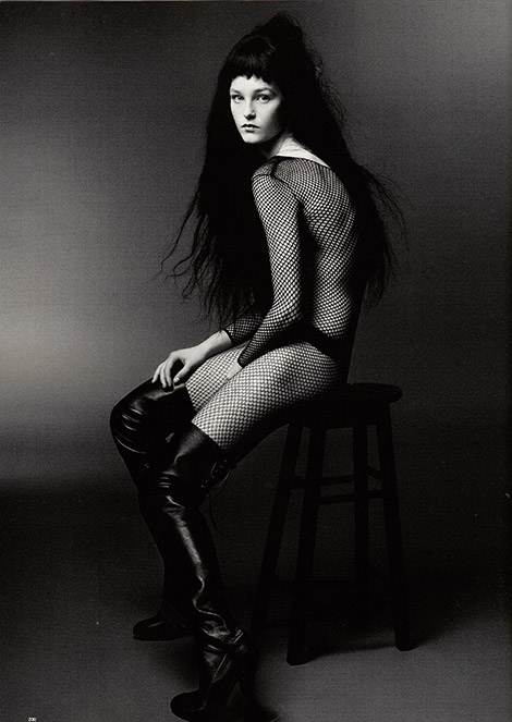 Boot Fashion: Jean Campbell in Agent Provocateur Thigh High Boots. Love Magazine #12, Fall 2014.