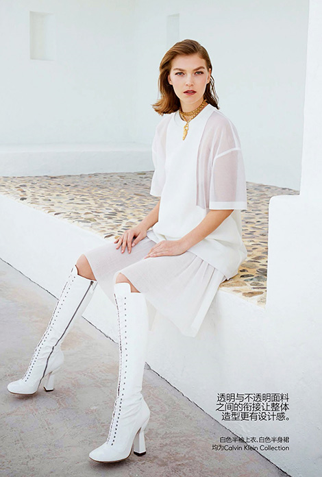 Boot Fashion: Arizona Muse in Miu Miu Knee High Laced Boots. Vogue China, 05.2014.