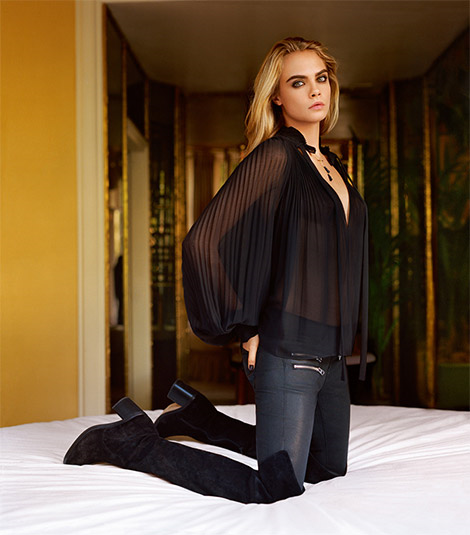 Boot Fashion: Cara Delevingne in Topshop Over The Knee Boots. Topshop F/W 14.15 Campaign.