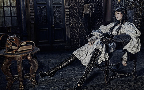 Boot Fashion: Edie Campbell in Alexander McQueen Over The Knee Boots. Alexander McQueen F/W 14.15 Campaign.