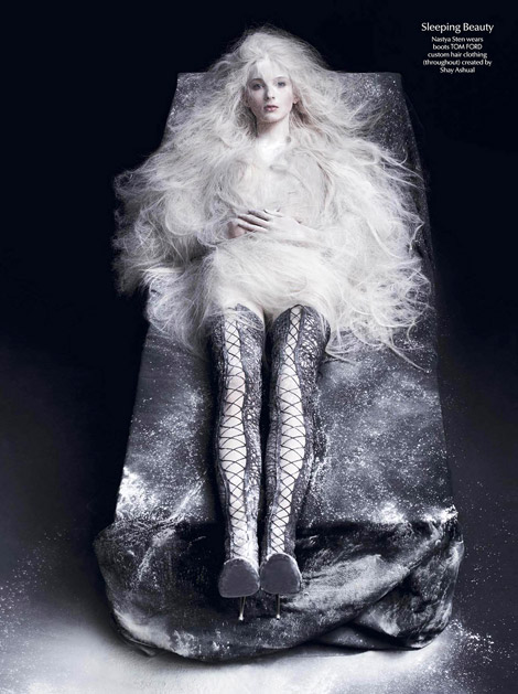 Boot Fashion: Nastya Sten in Tom Ford Laced Thigh High Boots. CR Fashion #4, Spring 2014.