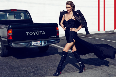 Boot Fashion: Rosie Huntington-Whiteley in Christian Louboutin Knee High Boots. Vamp #1, Spring 2014.