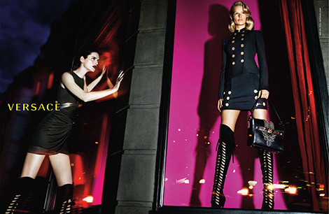 Boot Fashion: Anna Ewers & Stella Tennant in Versace Thigh High Boots. Versace Fall/Winter 2014 Campaign.