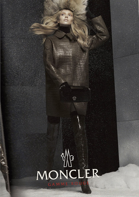 Boot Fashion: Anna Ewers in Moncler Thigh High Boots. Moncler Fall/Winter 2014 Campaign.